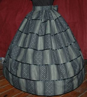 CIVIL WAR VICTORIAN PIONEER SOUTHERN BELLE Gown Dress Skirt & Sash Set