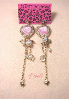 Pink Crystal Love Heart Dangle Pearls Stud Earrings for Christmas