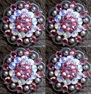 BERRY CRYSTALS BLING CONCHOS HORSE SADDLE HEADSTALL PINK AB TACK C23