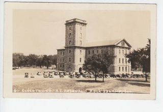 Clock Tower Rock Island Arsenal Illinois IL Old RPPC Postcard Vintage