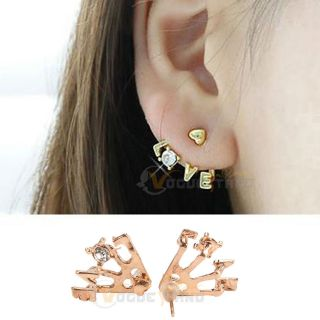 Style Gold Plated Clear Rhinestone Heart Love Letter Ear Stud Earrings