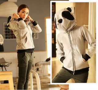 Fashion Gray Women Girl Korean Cute Panda Hoodie Fleeces Coat NEW