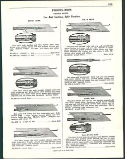 1938 AD South Bend Bait Casting Split Bamboo Fishing Rods Cross Double
