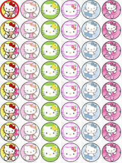 48 Hello Kitty Edible Wafer Rice Paper Cupcake Bun Fairy Cake Topper
