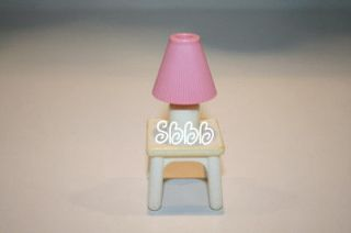 Fisher Price Loving Family End Table Lamp Shade Pink White Doll House
