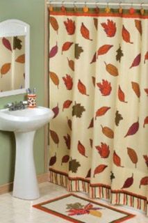 4pc THANKSGIVING FALL LEAVES BATH SET Rug Shower Curtain & Hooks