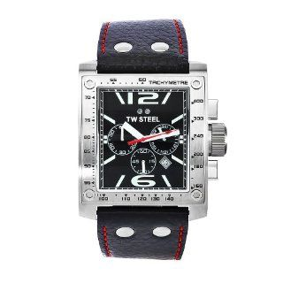 TW Steel Mens TW116 Goliath Black Leather Chronograph Dial Watch