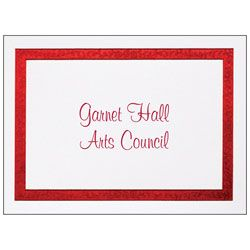 Custom Printed Stationery Note Cards Red Flourish Frame Folded 4 78 x