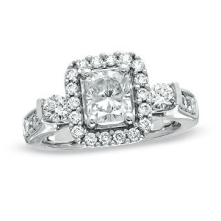 CT. T.W. Certified Radiant Cut Diamond Frame Engagement Ring in