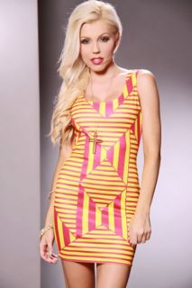 Fuchsia Yellow Scoop Neck Sexy Party Dress @ Amiclubwear sexy dresses