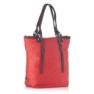 Francesco Biasia Red Raffia/Leather Shopper