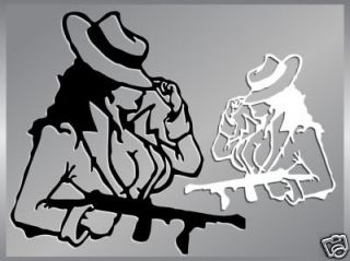 Sexy Gangster Girl cut vinyl decal stickers tommy gun