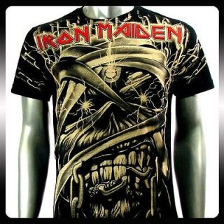 Iron Maiden Heavy Metal Men Rock Punk T shirt Sz L Biker IR18