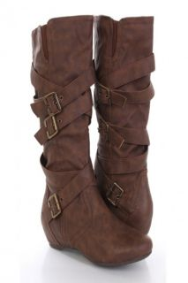 Brown Faux Leather Buckle Strapped Mid Calf Boots @ Amiclubwear Boots