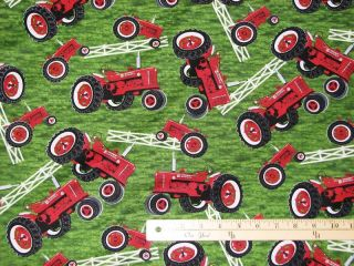 International Harvester Farmall Tractors Fabric by the 1/2 Yard BTHY