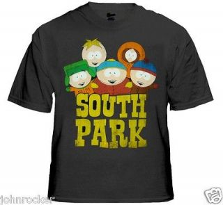 SOUTH PARK OFFICIAL THE FELLAS DISTRESSED LOOK LOGO GREY/NAVY T SHIRT