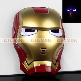 New Iron Man Ironman 2 Adult Mask Light Up Eyes Fancy Dress Up Costume