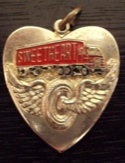 Heart Shaped Semi Truck SWEETHEART Tire Wheel Wings Charm Pendant