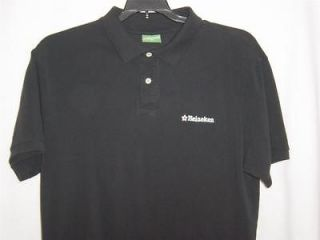 HEINEKEN BEER GOLF POLO SHIRT SHORT SLEEVE MENS L BLACK