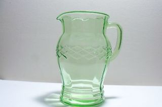 green depression glass pitcher in Depression