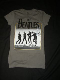 JUNIORS CHARCOAL GRAY BEATLES T SHIRT JOHN PAUL GEORGE RINGO L XL