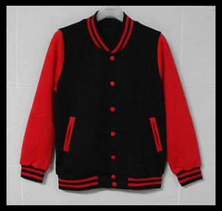 Men Baseball Jacket/Letterm​an Varsity jacket Black&Red M sz