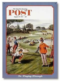 Nostalgic Tin Metal Sign   Aug. 1957 Saturday Evening Post Playing