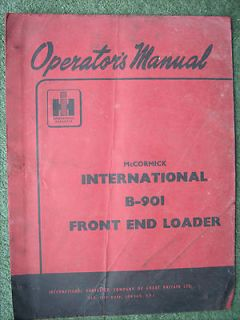 Original McCormick B 901 Front end loader Operators Manual Tractor