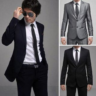 New Mens Fashion Stylish Slim Fit Two Buttons Suit