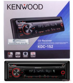 KENWOOD KDC 152 Single Din CD Car Radio/Receiver with Front AUX KDC152