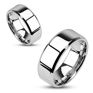 8mm wedding band thumb ring silver color stainless steel pinky