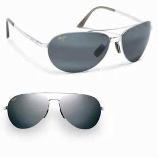 maui jim pilot 210 17 silver grey polarised sunglasses