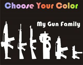 Stick Figure Gun Family Decal Car Window Sticker Hunting Laptop Decal