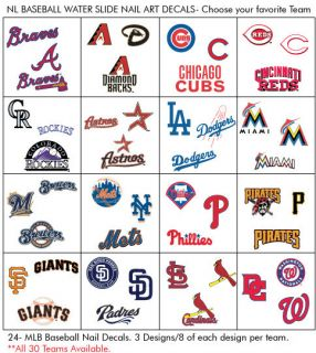 24 MLB BASEBALL WATER SLIDE NAIL DECALS* 3 DESIGNS PER SET ALL 30