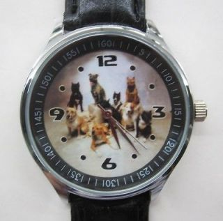 Love Pets Staffordshire Bull Terrier Puppies Dog Leather Strap Watch