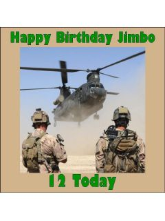 Personalised army soldier helicopter edible icing cake topper square