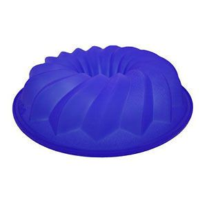 Lekue Silicone Bundt Cake Pan Mold Kitchen Bakeware Blue 10 Inch Made
