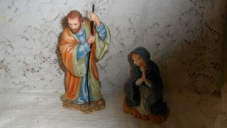 VINTAGE FRANKLIN MINT NATIVITY FIGURINES  JOSEPH  & MARY    NO BOX