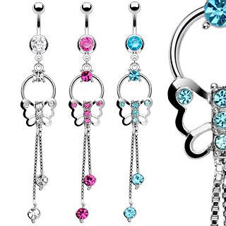 Butterfly Chain Dangle CZ Gems Belly Ring Navel Naval Clear, Pink