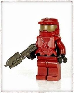 DARK RED HALO MASTER CHIEF MINIFIGURE & ASSAULT RIFLE w LEGO PARTS