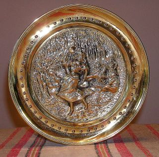 Vtg Repousse Brass Wall Hanging Plate~Gypsy Dancer~Made in England w