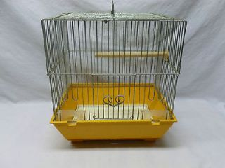 Vintage Retro Yellow Plastic Wire Hanging Bird Cage Carrier Shabby