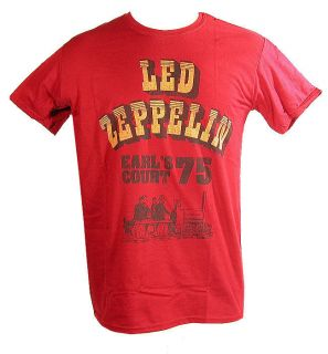 LED ZEPPELIN EARLS COURT 1975 OFFICIAL LICENSED RED T TEE SHIRT NEW IN