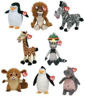 TY BEANIE BABY ~ MADAGASCAR SERIES ~ CHOOSE YOUR CHARACTER SOFT PLUSH