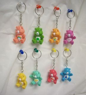 Ring Keyrings Care Bear Figures Series 1 Set of 8 Bears Party Favors