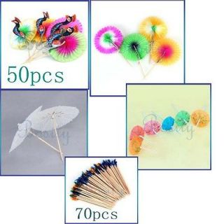 Cocktail 3D Peacock Sumflower Umbrella Picks Straws DIY