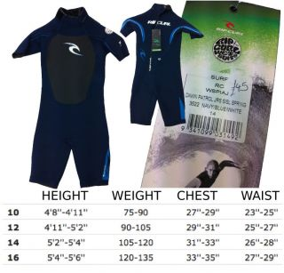 RIP CURL KIDS BOYS SHORTIE DAWN PATROL SUMMER WETSUIT NAVY BLUE WHITE
