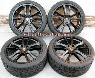 22 PORSCHE CAYENNE GTS STYLE WHEEL AND TIRE PACKAGE   BLACK WHEELS