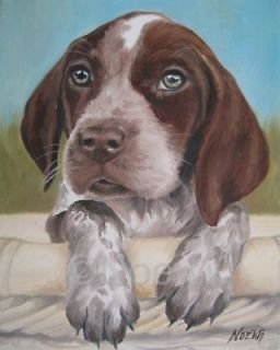 GERMAN SHORTHAIRED POINTER original oil painting by NOEWI puppy dog