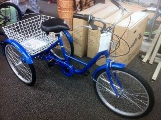 24 adult tricycle 3 wheeler 6 speed trike blue new